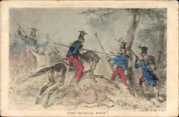 Künstler Ak Pare Celle la, Malin, Soldaten im Gefecht, Reiter