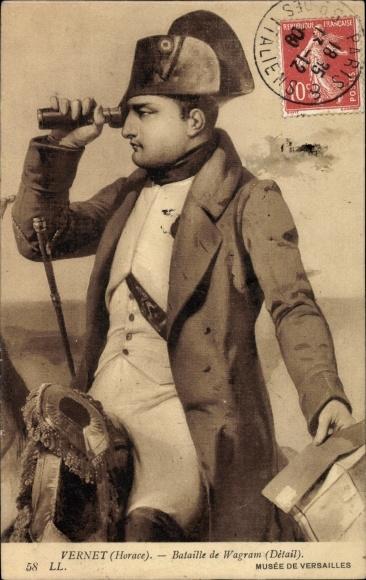 Künstler Ak Vernet, Horace, Bataille de Wagram, Détail, Napoleon mit Fernrohr, Levy & Fils L.L. 58