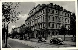 Ak Augsburg in Schwaben, Hotel Drei Kronen, Bes. Josef Baur, Außenansicht von der Straße