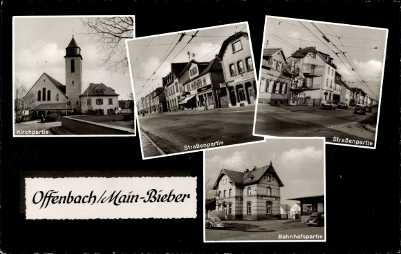 Ak Offenbach am Main Hessen, Stadtansichten, Straßenansicht, Kirche, Bahnhof