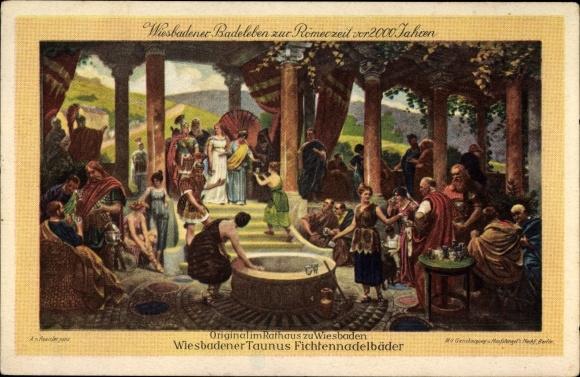 Ak Wiesbaden in Hessen, Badeleben zur Römerzeit vor 2000 Jahren, Fichtennadelwälder