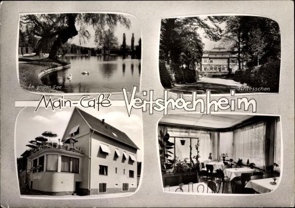 Passepartout Ak Veitshöchheim im Kreis Würzburg Unterfranken, Main Café, Schlösschen, Seepartie