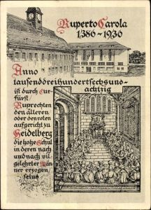 Künstler Ak Heidelberg am Neckar, 550 Jahre Universitätsjubiläum, Ruperto Carola 1386 bis 1936