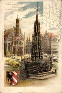 Wappen Litho Nürnberg in Mittelfranken Bayern, Frauenkirche und schöner Brunnen