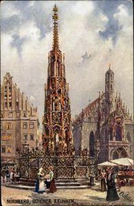 Künstler Ak Flower, Charles F., Nürnberg in Mittelfranken Bayern, Schöner Brunnen, Tuck 611 E