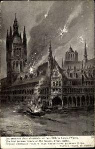 Künstler Ak Fraipont, G., Les premiers obus allemands sur les celebres halles d'Ypres