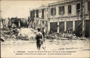 Ak Thessaloniki Griechenland, Fire in August 1917, A corner of Coundouriotis Street