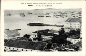Ak Bahia Brasilien, Vue de Port, Blick auf den Hafen