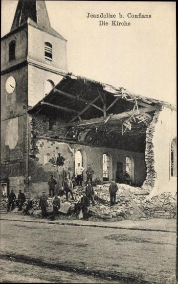 Ak Jeandelize Lothringen Meurthe et Moselle, Église, Kirche, Kriegszerstörungen, I. WK