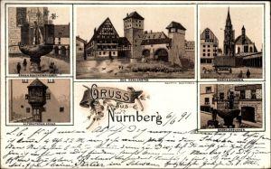 Litho Nürnberg in Mittelfranken Bayern, Altdeutscher Erker, Henkersteg, Schöner Brunnen