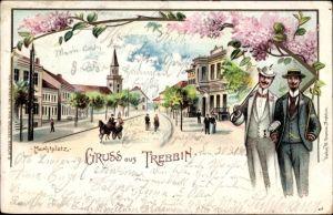 Litho Trebbin im Kreis Teltow Fläming, Marktplatz, Straßenansicht, Kirche