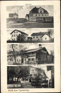 Ak Tyrlaching in Oberbayern, Bahnhof, Schule, Handlung von J. Bayerl, Gasthaus zur Post, Inh. Maier