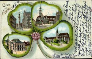 Kleeblatt Litho Augsburg in Schwaben, Perlach, Rathaus, St. Ulrich, Theater, Dom