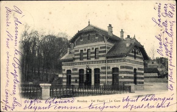 Ak Meudon Hauts de Seine, Val Fleury, La Gare, Bahnhof, Straßenseite