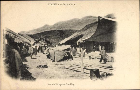 Ak Yunnan China, Vue du Village de Sin Kay, Partie in einem Dorf
