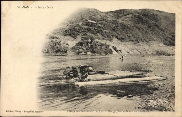 Ak Yunnan China, Indigènes descendant le Fleuve Rouge, sur radeaux de bambous