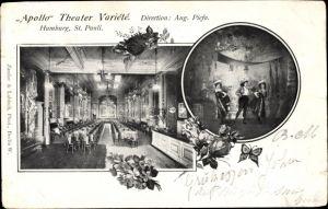 Passepartout Ak Hamburg Mitte St. Pauli, Apollo Theater Variete, Inh. August Piefo, Innenansicht