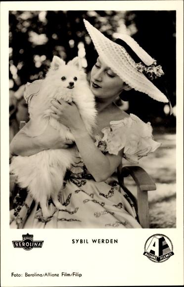 Ak Schauspielerin Sybil Werden, Portrait mit Spitz, Der Vogelhändler