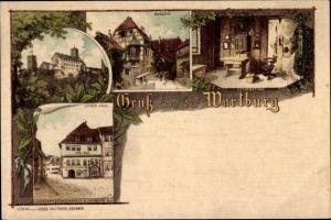 Litho Lutherstadt Eisenach in Thüringen, Luther Haus, Burghof, Lutherstube