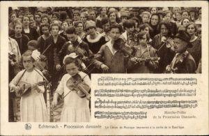 Ak Echternach Luxemburg, Procession dansante, Le Corps de Musique, Musiker mit Instrumenten