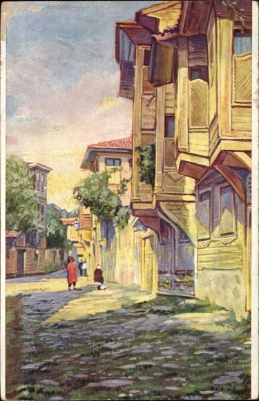 Künstler Ak Konstantinopel Istanbul Türkei, Rue a Stamboul, Straßenpartie