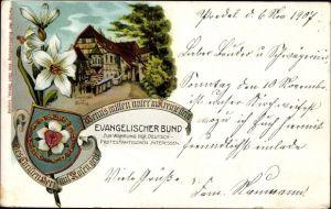 Wappen Litho Lutherstadt Eisenach in Thüringen, Evangelischer Bund, Lutherstube, Wartburg, Wappen