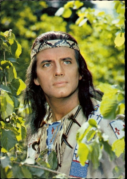 Ak Schauspieler Pierre Brice, Winnetou II. Teil, Portrait, Indianer, Karl May Film