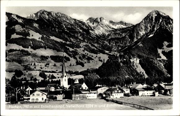 Ak Fischen im Allgäu in Schwaben, Ort mit Entschenkopf, Nebelhorn und Rubihorn