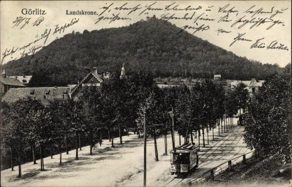Ak Görlitz in der Lausitz, Landskrone, Alee