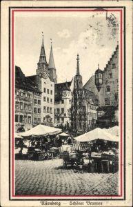 Ak Nürnberg in Mittelfranken Bayern, Marktleben, Schöner Brunnen