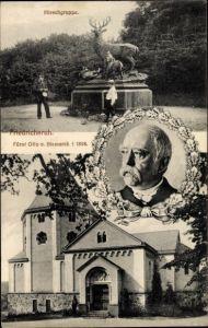 Ak Friedrichsruh Aumühle im Herzogtum Lauenburg, Hirschgruppe, Portrait von Fürst Otto von Bismarck