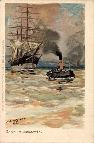 Künstler Litho Diemer, Zeno, Bark im Schlepptau, Segelschiff, Schleppschiff, Zieher