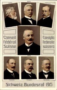 Ak Schweizer Bundesrat 1915, Forrer, Müller, Hoffmann, Motta, Calonder, Decoppet, Schultheiss