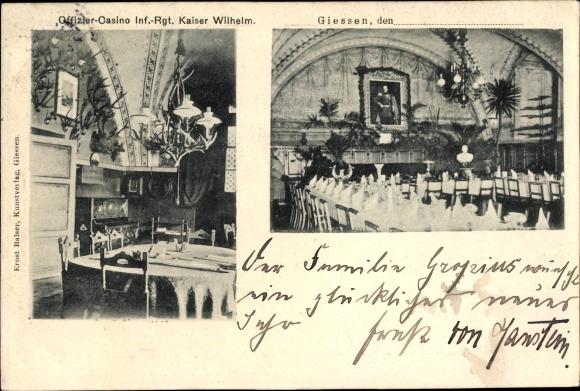 Ak Gießen an der Lahn Hessen, Offizier Casino Infanterie Regiment Kaiser Wilhelm, Saalansicht