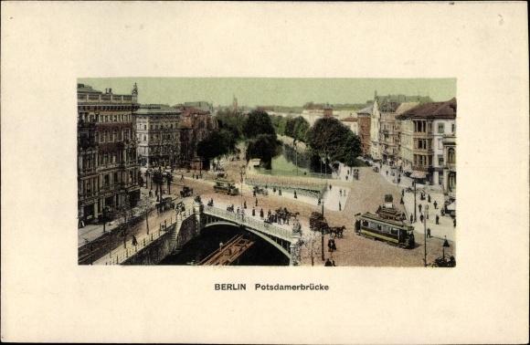 Passepartout Ak Berlin Mitte, Potsdamer Brücke, Straßenbahn