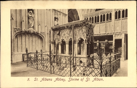 Ak St. Albans East England, St. Albans Abbey, Shrine of St. Alban, Schrein