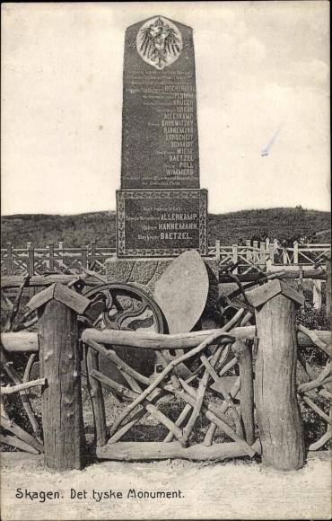 Ak Skagen Frederikshavn Dänemark, Det tyske Monument, Deutsches Kriegerdenkmal