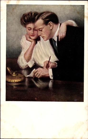 Künstler Ak Underwood, Clarence, Paar beim Schreiben eines Briefes, M. Munk 387