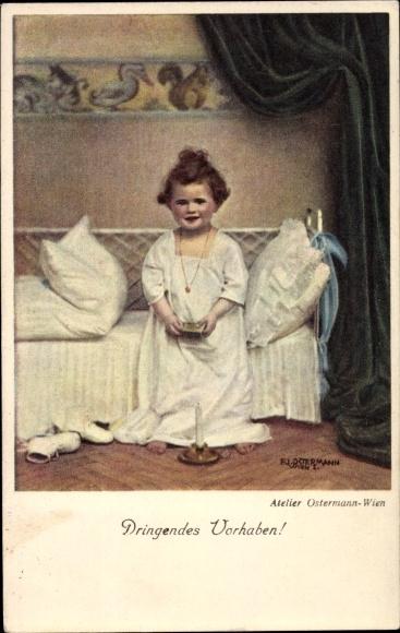 k nstler ak mutter sitzt vor dem bett ihrer kranken. Black Bedroom Furniture Sets. Home Design Ideas