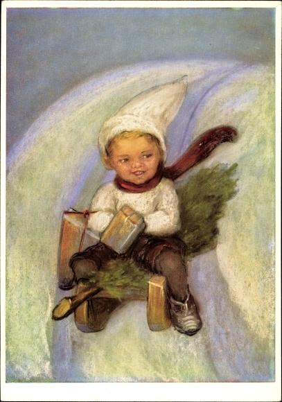 Künstler Ak Spötl, Maria, Achtung, ich komme, Kind auf einem Schlitten, Pakete, Tannenbaum