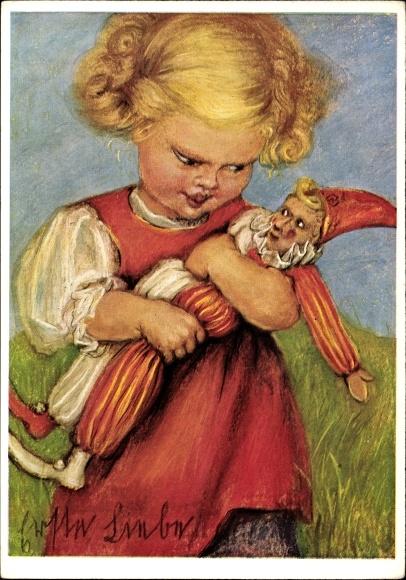 Künstler Ak Spötl, Maria, Erste Liebe, Kind mit Puppe, Harlekin
