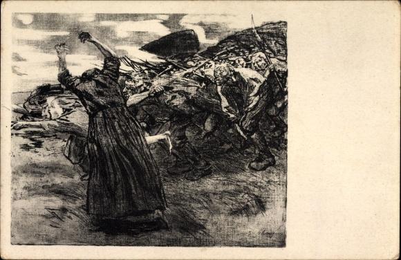 Künstler Ak Kollwitz, Käthe, Losbruch, Männer mit Waffen stürmen in die Schlacht