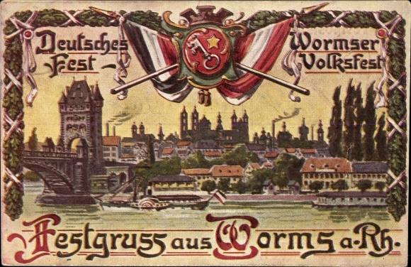 Wappen Ak Worms in Rheinland Pfalz, Volksfest, Deutsches Fest, Flusspartie mit Blick auf die Stadt
