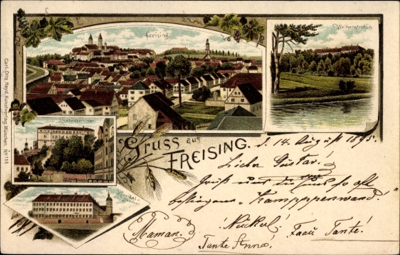 Vorläufer Litho Freising in Oberbayern, Weihenstephan, Knabenseminar, Klerikalseminar, Panorama