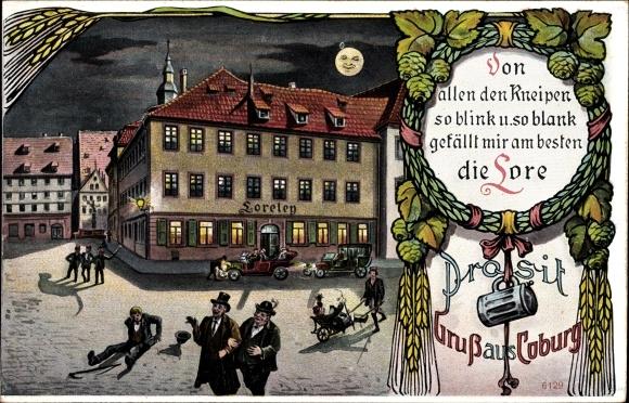 Künstler Ak Coburg in Oberfranken, Gasthaus Loreley, Nacht, Betrunkene