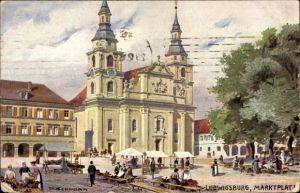Künstler Ak Schnorr, P., Ludwigsburg in Baden Württemberg, Partie am Marktplatz, Tuck 715B