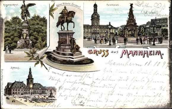 Litho Mannheim in Baden Württemberg, Kaiser Wilhelm I. Denkmal, Kriegerdenkmal, Paradeplatz
