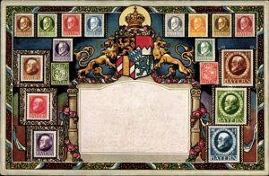 Briefmarken Ak Bayern, Staatswappen, König Ludwig III. von Bayern