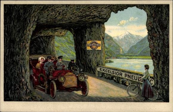 Litho Excelsior Pneumatic, Automobil, Fahrrad, Autotunnel