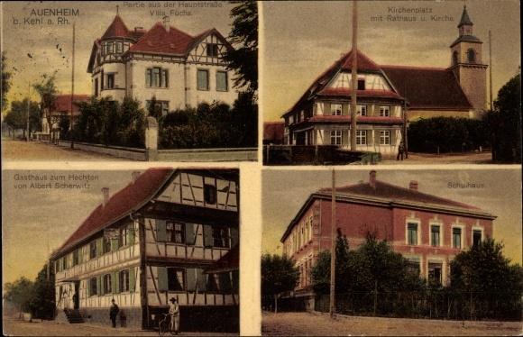 Ak Auenheim Kehl am Rhein Ortenaukreis Baden Württemberg, Gasthaus zum Hechten von A. Scherwitz